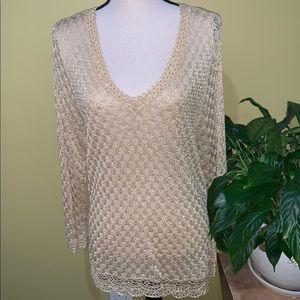 Emma James gold metallic sweater Size XL